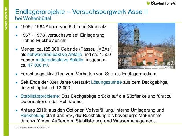 www.oeko.de  Endlagerprojekte – Versuchsbergwerk Asse II bei Wolfenbüttel  ●  1909 - 1964 Abbau von Kali- und Steinsalz  ●...