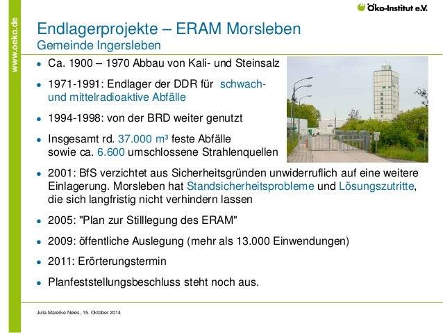 www.oeko.de  Endlagerprojekte – ERAM Morsleben Gemeinde Ingersleben  ●  Ca. 1900 – 1970 Abbau von Kali- und Steinsalz  ●  ...