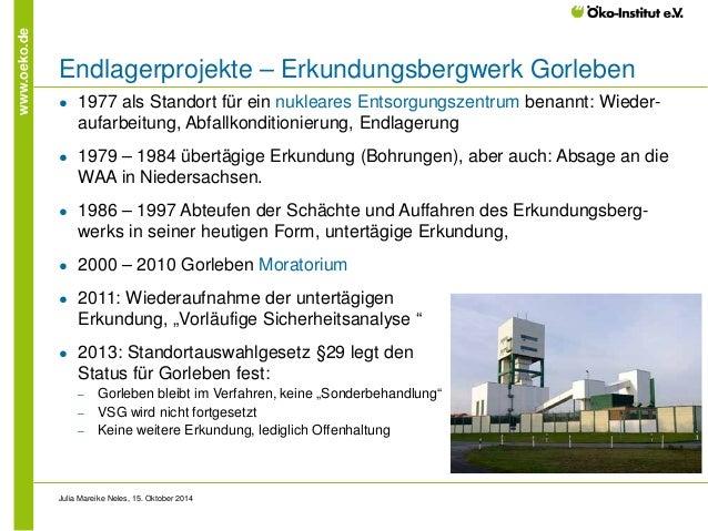 www.oeko.de  Endlagerprojekte – Erkundungsbergwerk Gorleben  ●  1977 als Standort für ein nukleares Entsorgungszentrum ben...