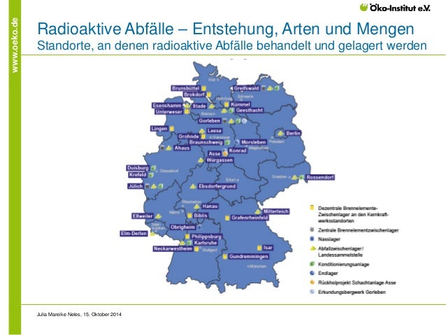 www.oeko.de  Radioaktive Abfälle – Entstehung, Arten und Mengen Standorte, an denen radioaktive Abfälle behandelt und gela...