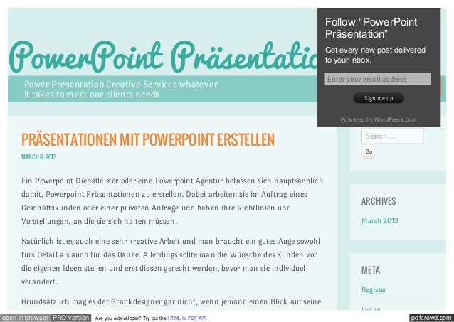 "Follow ""PowerPoint                                                                                             Präsentatio..."