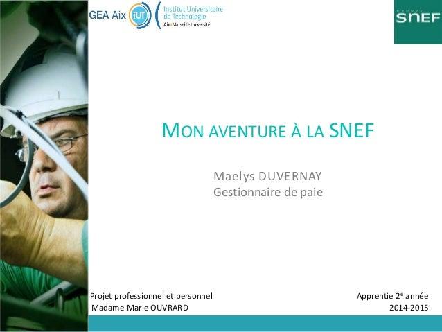 Projet professionnel et personnel Apprentie 2e année Madame Marie OUVRARD 2014-2015 MON AVENTURE À LA SNEF Maelys DUVERNAY...