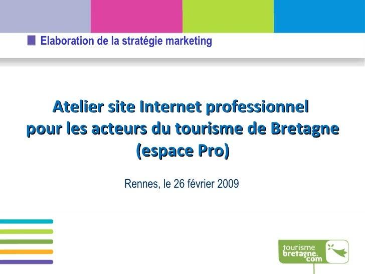 Rennes, le 26 février 2009 Atelier site Internet professionnel  pour les acteurs du tourisme de Bretagne (espace Pro)