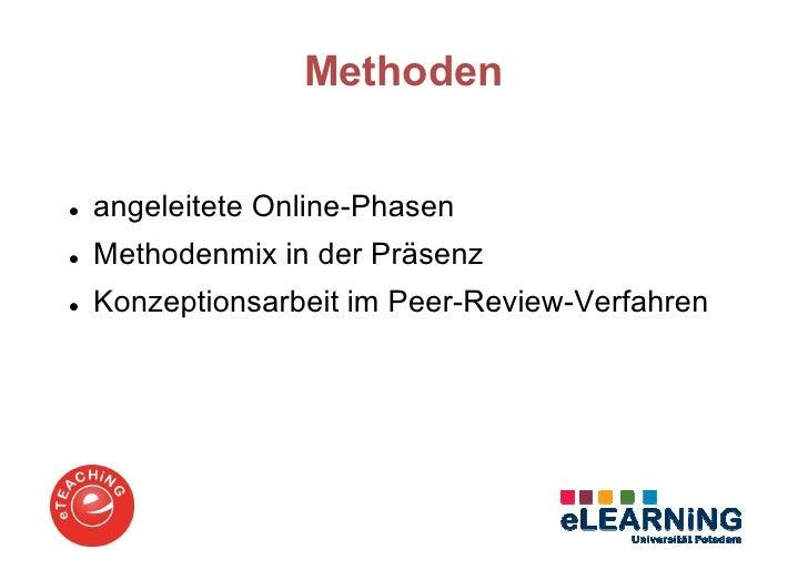 Methodenangeleitete Online-PhasenMethodenmix in der PräsenzKonzeptionsarbeit im Peer-Review-Verfahren