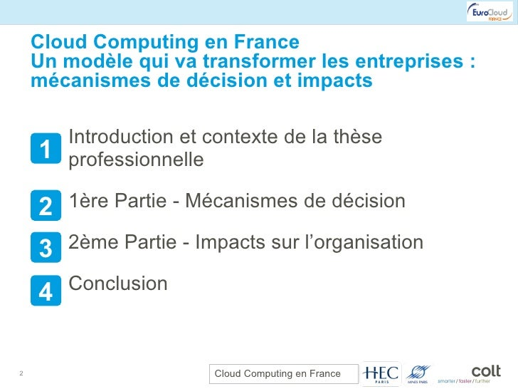 Cloud Computing en France Un modèle qui va transformer les entreprises : mécanismes de décision et impacts <ul><li>Introdu...