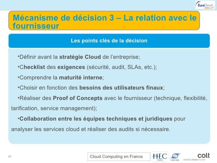 Mécanisme de décision 3 – La relation avec le fournisseur <ul><li>Définir avant la  stratégie Cloud  de l'entreprise; </li...