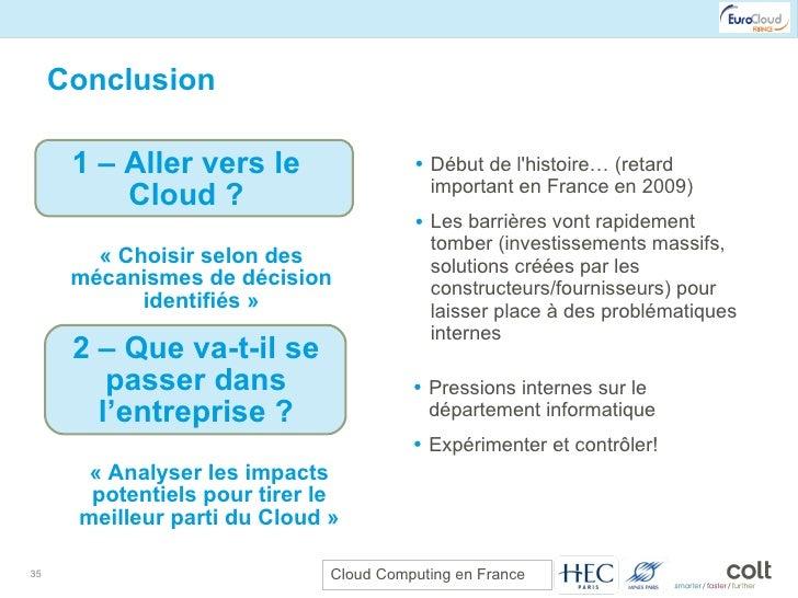 Conclusion <ul><ul><li>Début de l'histoire… (retard important en France en 2009) </li></ul></ul><ul><ul><li>Les barrières ...