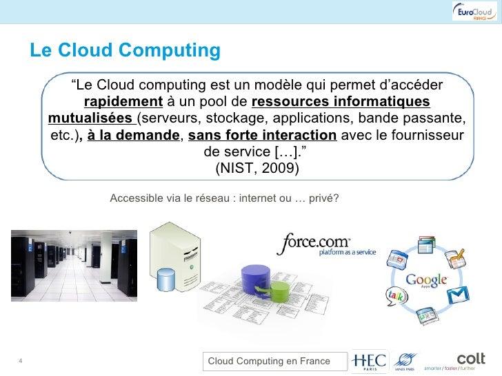 """Le Cloud Computing """" Le Cloud computing est un modèle qui permet d'accéder  rapidement  à un pool de  ressources informati..."""