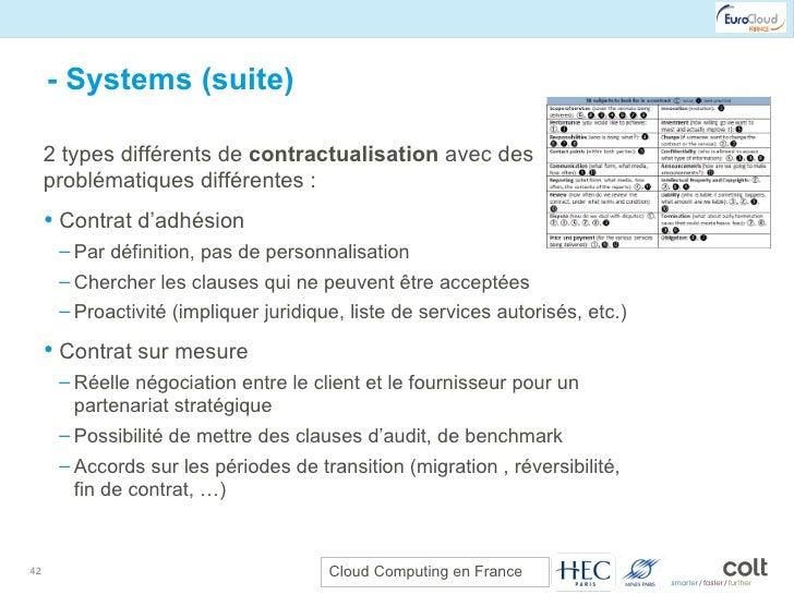 - Systems (suite) <ul><li>2 types différents de  contractualisation  avec des problématiques différentes : </li></ul><ul><...