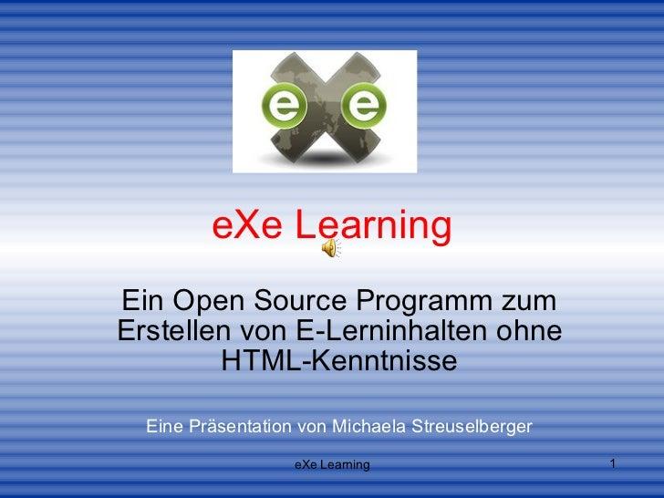 eXe Learning Ein Open Source Programm zum Erstellen von E-Lerninhalten ohne HTML-Kenntnisse Eine Präsentation von Michaela...