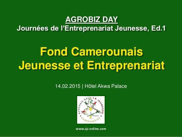 AGROBIZ DAY Journées de l'Entreprenariat Jeunesse, Ed.1 Fond Camerounais Jeunesse et Entreprenariat 14.02.2015 | Hôtel Akw...
