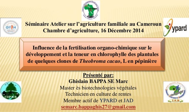 Présenté par: Ghislain BAPPA SE Marc Master ès biotechnologies végétales Technicien en culture de rentes Membre actif de Y...