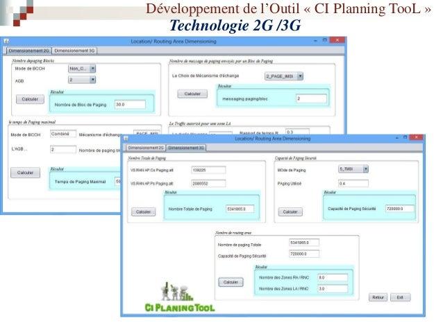 Développement de l'Outil « CI Planning TooL » Technologie 2G /3G