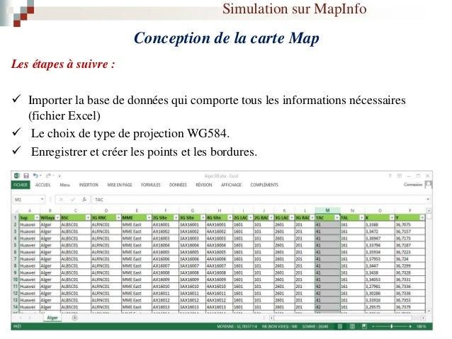 Simulation sur MapInfo Technologie LTE Initialisation des paramètres:  Le choix de la Wilaya a étudiée (wilaya : Alger, c...