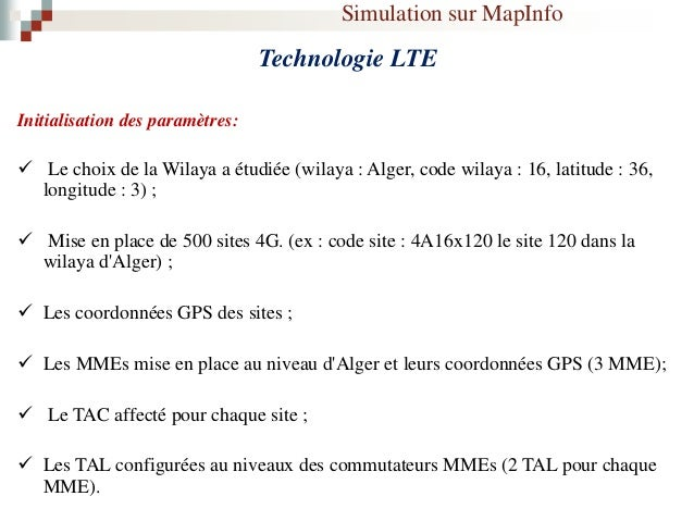 Simulation sur MapInfo Technologie LTE