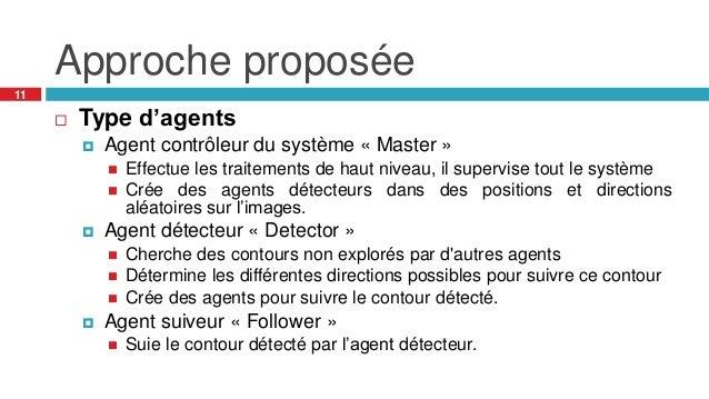Approche proposée 11  Type d'agents  Agent contrôleur du système « Master »  Effectue les traitements de haut niveau, i...