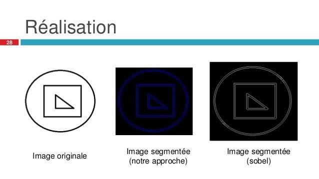 Réalisation 28 Image originale Image segmentée (sobel) Image segmentée (notre approche)