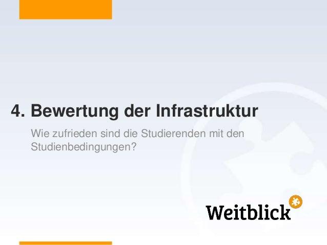 4. Bewertung der Infrastruktur Wie zufrieden sind die Studierenden mit den Studienbedingungen?