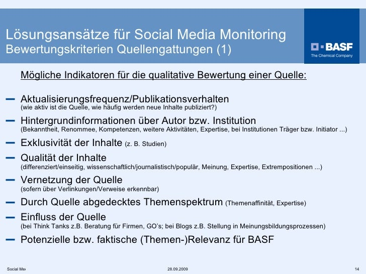<ul><li>Mögliche Indikatoren für die qualitative Bewertung einer Quelle: </li></ul><ul><li>Aktualisierungsfrequenz/Publika...