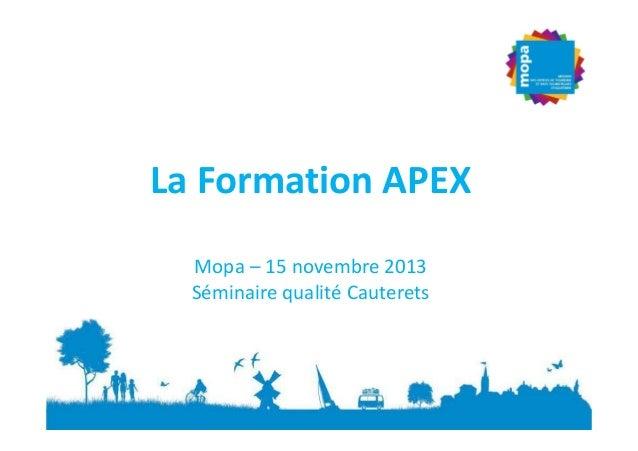 La Formation APEX Mopa – 15 novembre 2013 Séminaire qualité Cauterets