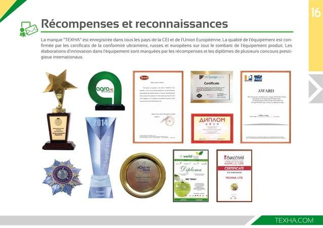 """16  TEXHA.COM  Récompenses et reconnaissances  La marque """"ТЕХНА"""" est enregistrée dans tous les pays de la CEI et de l'Unio..."""