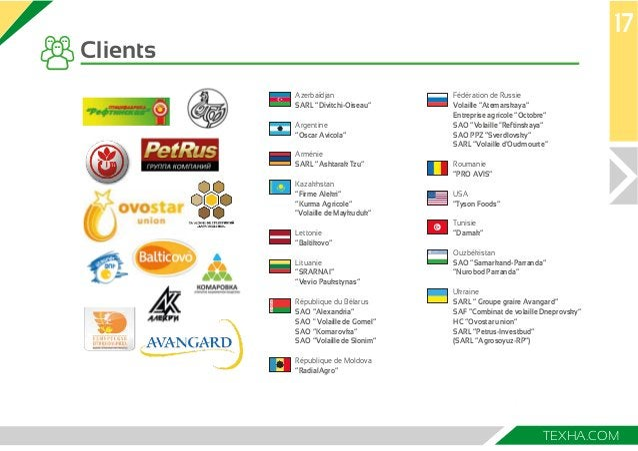 """17  TEXHA.COM  Clients  Fédération de Russie  Volaille """"Atemarskaya""""  Entreprise agricole """"Octobre""""  SAO """"Volaille """"Reftin..."""