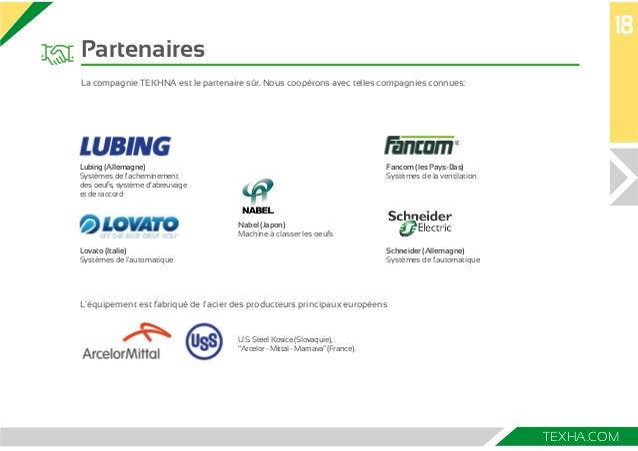 18  TEXHA.COM  Partenaires  La compagnie TEKHNA est le partenaire sûr. Nous coopérons avec telles compagnies connues:  Lub...