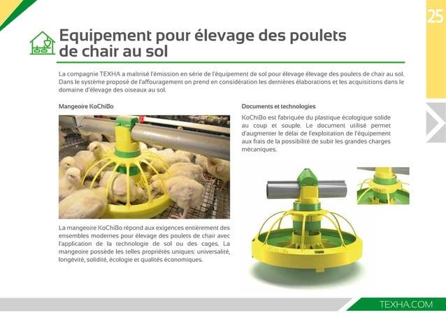 Equipement pour élevage des poulets  de chair au sol  La compagnie TEХHA a maîtrisé l'émission en série de l'équipement de...