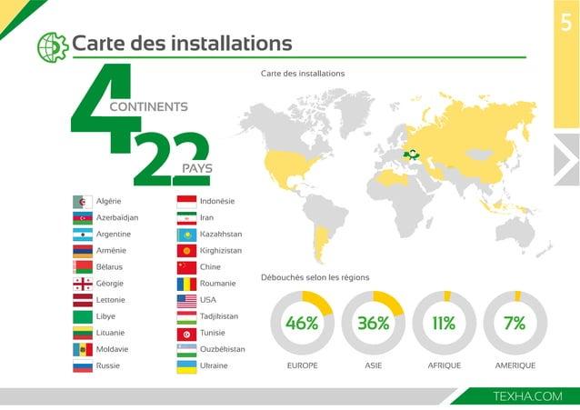 7  22 4  TEXHA.COM  Carte des installations  5  Carte des installations  Débouchés selon les régions  EUROPE ASIE AFRIQUE ...