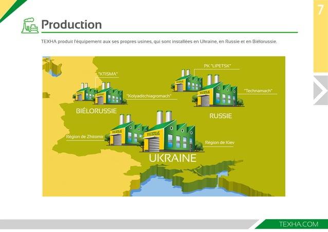 7  TEXHA.COM  Production  ТЕХНА produit l'équipement aux ses propres usines, qui sont installées en Ukraine, en Russie et ...