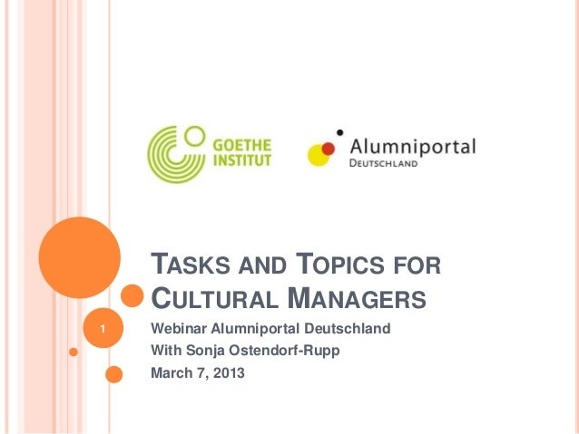 TASKS AND TOPICS FOR    CULTURAL MANAGERS1   Webinar Alumniportal Deutschland    With Sonja Ostendorf-Rupp    March 7, 2013