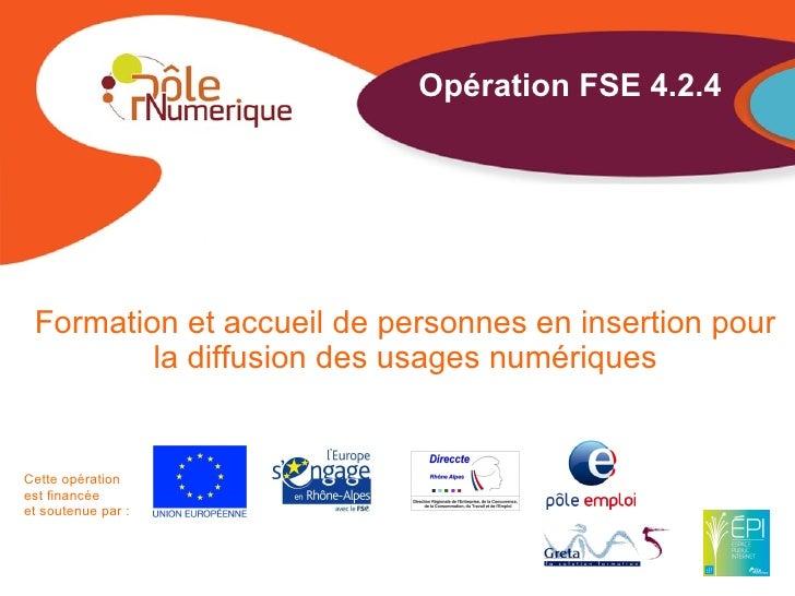 Opération FSE 4.2.4 Formation et accueil de personnes en insertion pour         la diffusion des usages numériquesCette op...