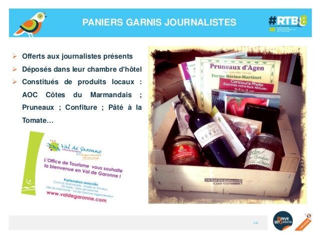 PANIERS GARNIS JOURNALISTES   Offerts aux journalistes présents  Déposés dans leur chambre d'hôtel   Constitués de prod...