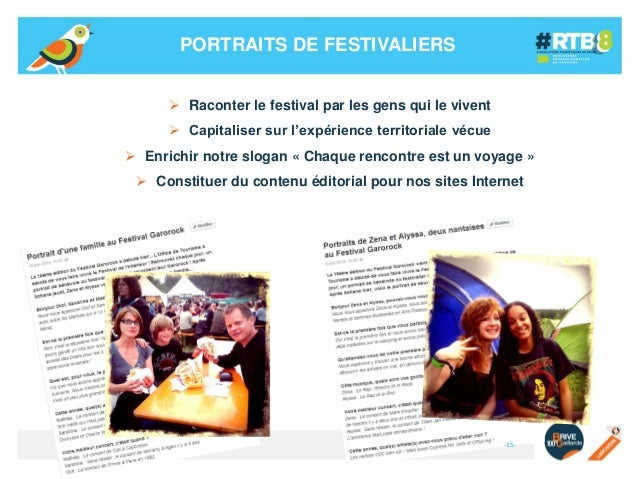 PORTRAITS DE FESTIVALIERS  Raconter le festival par les gens qui le vivent  Capitaliser sur l'expérience territoriale vé...