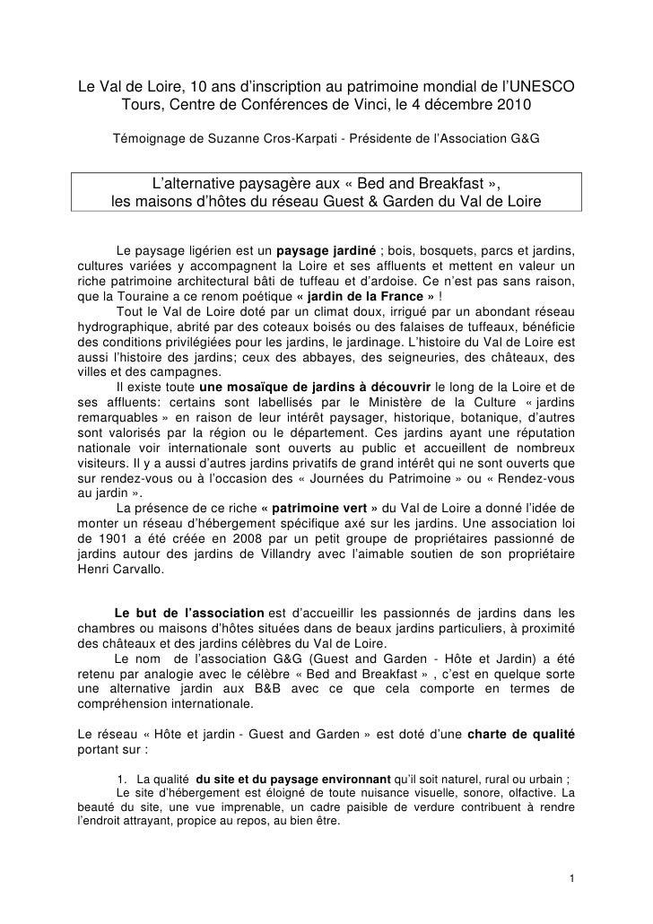 L'alternative paysagère aux « Bed and Breakfast », les maisons d'hôtes du réseau Guest&Garden du Val de Loire