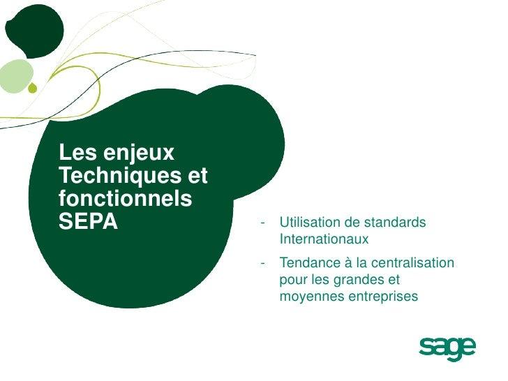 Les enjeuxTechniques etfonctionnelsSEPA            -   Utilisation de standards                    Internationaux         ...