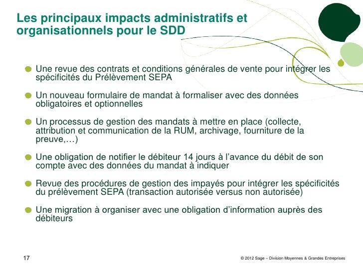 Les principaux impacts administratifs etorganisationnels pour le SDD      Une revue des contrats et conditions générales d...