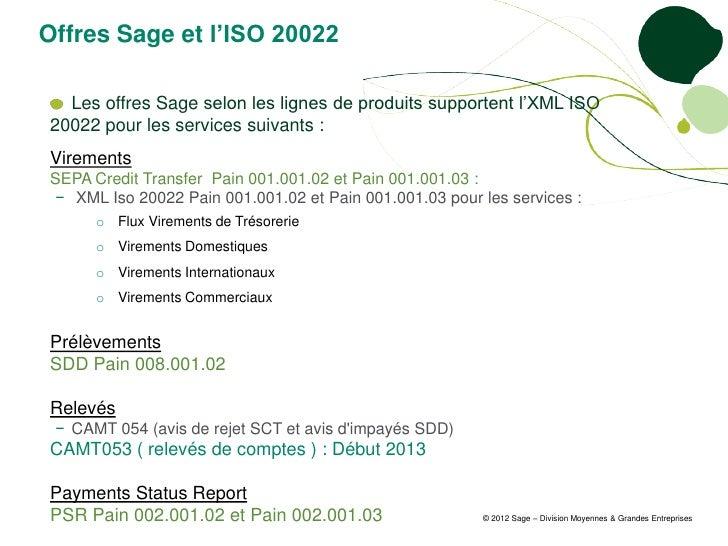 Offres Sage et l'ISO 20022  Les offres Sage selon les lignes de produits supportent l'XML ISO20022 pour les services suiva...