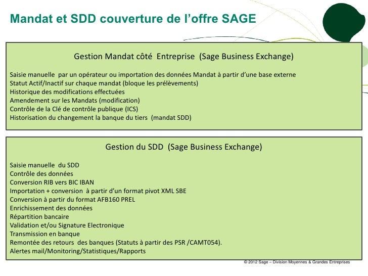 Mandat et SDD couverture de l'offre SAGE                     Gestion Mandat côté Entreprise (Sage Business Exchange)Saisie...