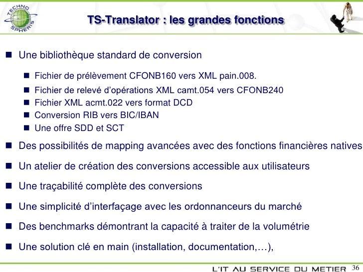 TS-Translator : les grandes fonctions Une bibliothèque standard de conversion     Fichier de prélèvement CFONB160 vers X...
