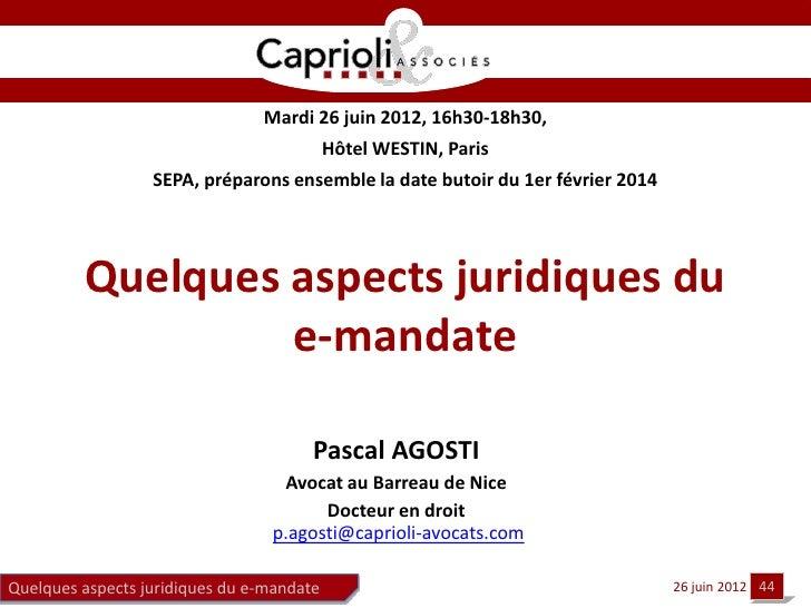 Mardi 26 juin 2012, 16h30-18h30,                                           Hôtel WESTIN, Paris                  SEPA, prép...