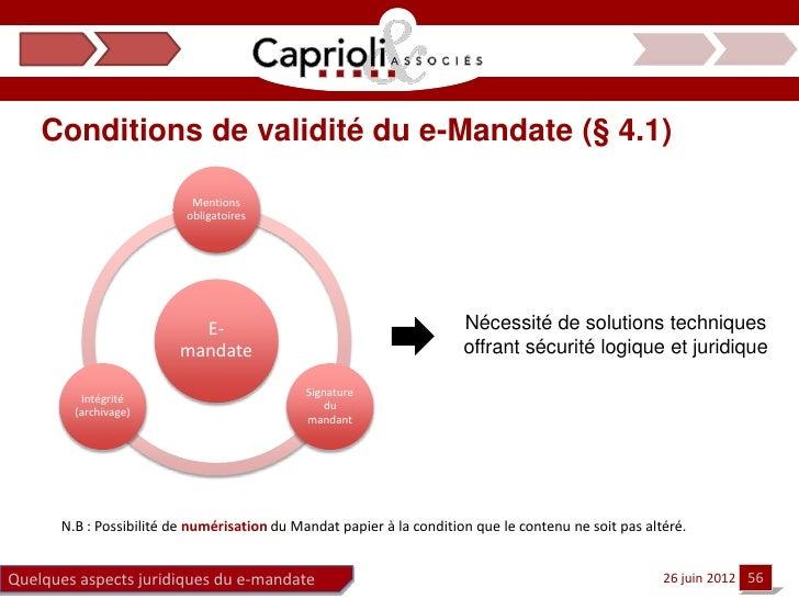 Conditions de validité du e-Mandate (§ 4.1)                           Mentions                          obligatoires      ...