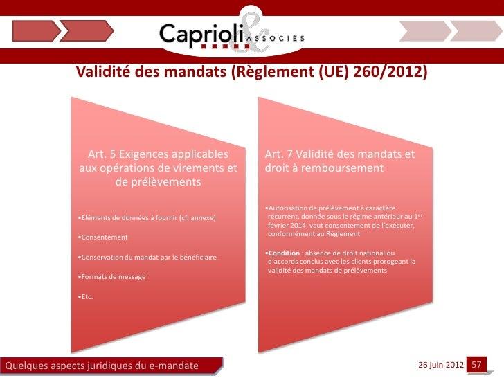 Validité des mandats (Règlement (UE) 260/2012)                Art. 5 Exigences applicables                Art. 7 Validité ...