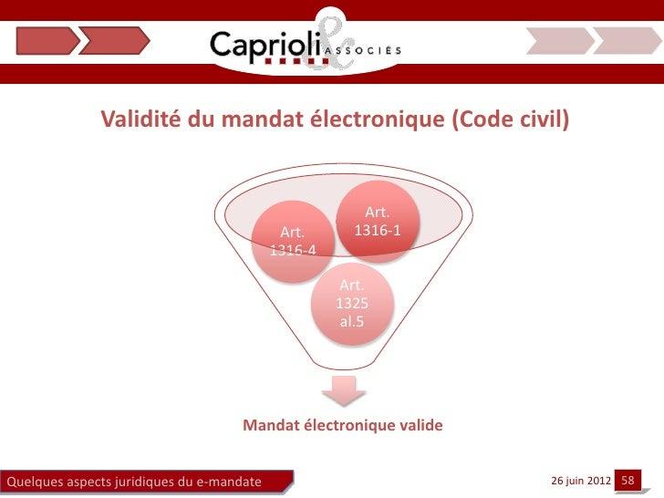 Validité du mandat électronique (Code civil)                                                       Art.                   ...