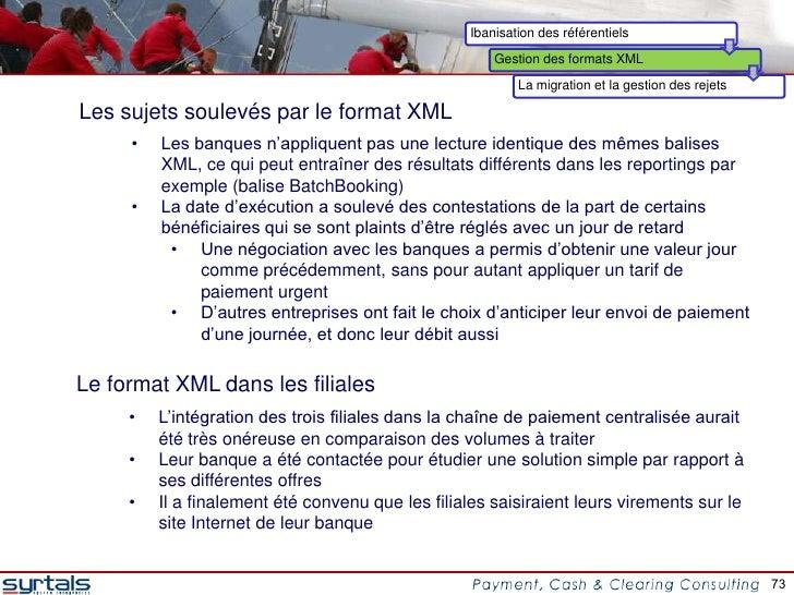 Ibanisation des référentiels                                                       Gestion des formats XML                ...