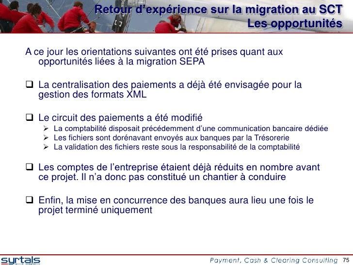 Retour d'expérience sur la migration au SCT                                            Les opportunitésA ce jour les orien...