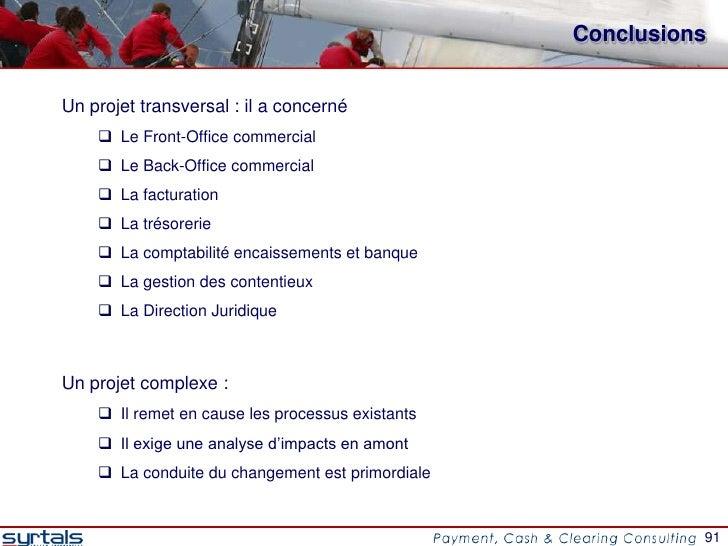 ConclusionsUn projet transversal : il a concerné     Le Front-Office commercial     Le Back-Office commercial     La fa...