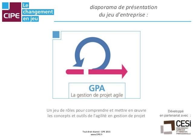 diaporama de présentation du jeu d'entreprise : Développé en partenariat avec : Tout droit réservé - CIPE 2015 www.CIPE.fr...