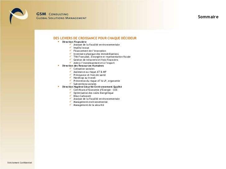 Sommaire<br />Des leviers de croissance pour chaque décideur<br /><ul><li>Direction Financière