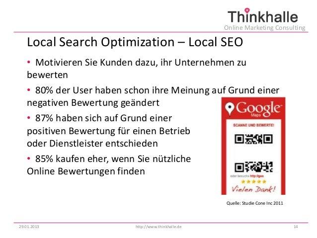 Online Marketing Consulting   Local Search Optimization – Local SEO   • Motivieren Sie Kunden dazu, ihr Unternehmen zu   b...